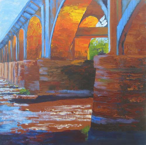 "Under the Bridge 24x24"" Acrylic on masonite ©2004 Lucinda Howe"