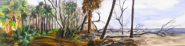 "Maritime Forest 12x48"" Ink, graphite, and fluid acrylics on cradled panel ©2013 Lucinda Howe"