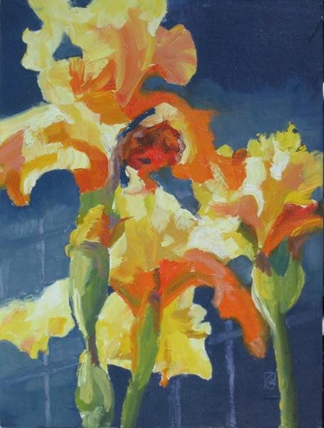 "Yellow Irises 12x9"" Oil on Raymar Panel"