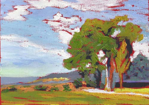 "Ghost Ranch Lane 5x7"" Oil on canvas paper ©2013 Lucinda Howe"