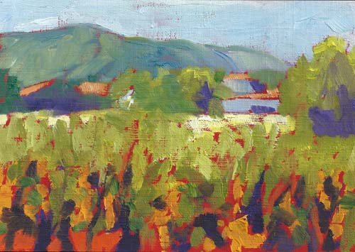 "Vineyard Study 5x7"" Oil on canvas paper ©2013 Lucinda Howe"