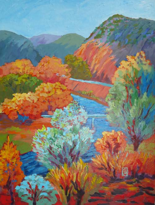 "Autumn on the Rio Grande 24x18""  Acrylic on board ©2014 Lucinda Howe"