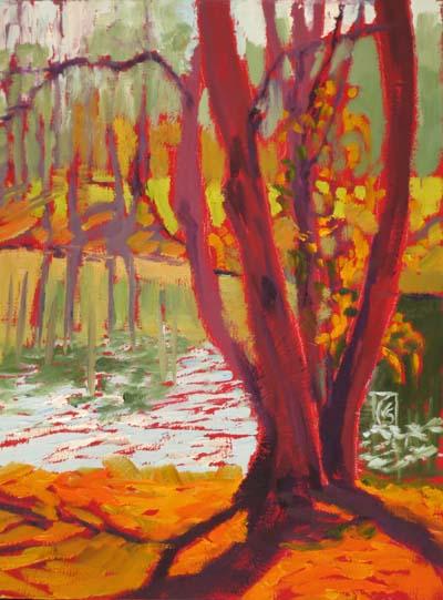 "Tree and Lake 12x9"" Oil ©2014 Lucinda Howe"