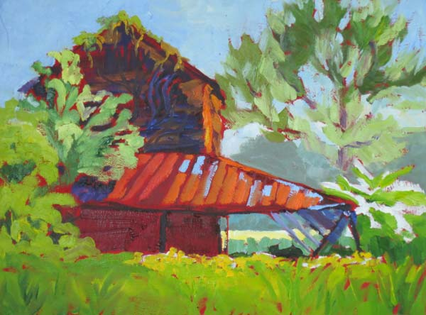 "Old Barn, Lake City 9x12"" Oil on panel ©2014 Lucinda Howe"