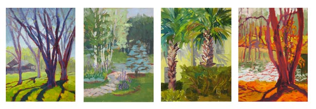"Pecan Grove, Camp Limberlost, Sunny Side, Tree and Lake Each 12x9"", Oil on board Each $125 on Daily Paintworks"