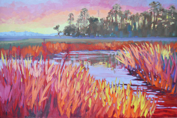 "Marsh Suns 24x36"""" Oil on gallery wrap canvas ©2014 Lucinda Howe"