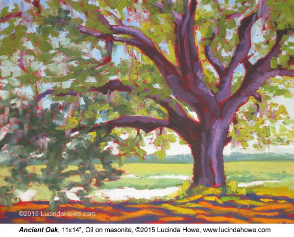 "Ancient Oak  11x14""  Oil on masonite ©2015 Lucinda Howe $425 www.lucindahowe.com"