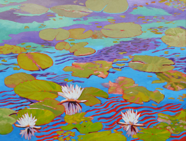 "Water Lily SeriesI 30x40"" Oil on gallery wrap canvas ©2015 Lucinda Howe $2,400"