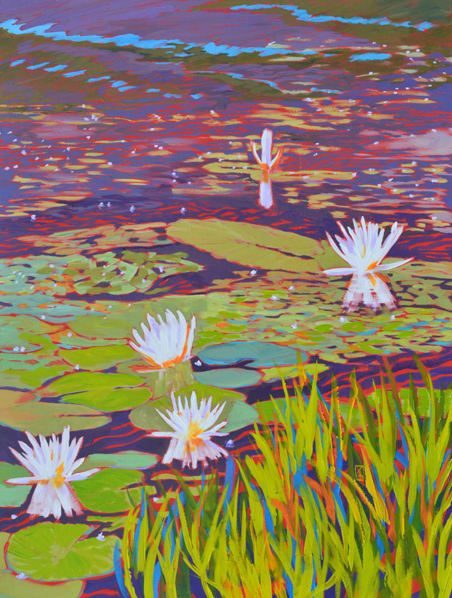 "Water Lily Series III 48x36"" Acrylic on gallery wrap canvas ©2015 Lucinda Howe $3,500"