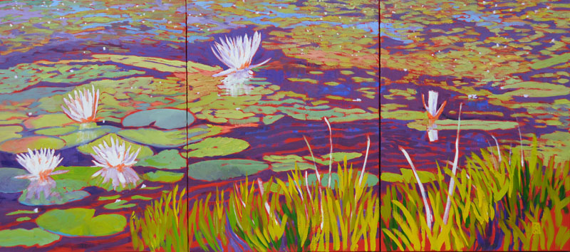 "Water Lily Series II 24x54"" Triptych Oil on 3 gallery wrap canvases ©2015 Lucinda Howe $2,600"