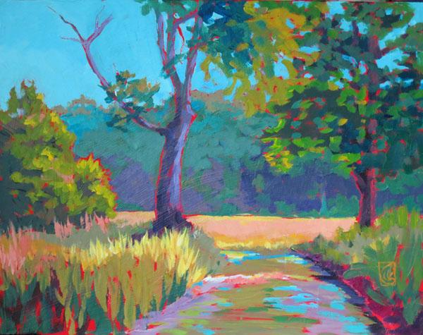 "Farm Lane, Lake City 11x14""  Acrylic on masonite ©2015 Lucinda Howe $425"