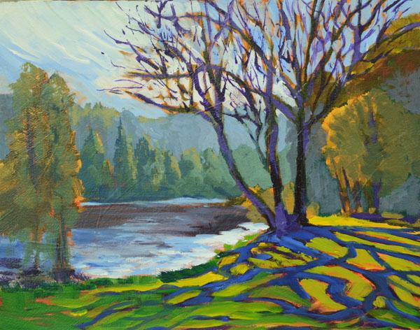 """Sandhill Shadow Web 11x14""""  Acrylic on panel ©2015 Lucinda Howe $425"""