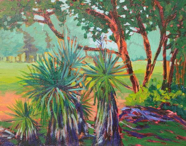 """Sandhill Yucca 11x14"""" Acrylic on panel ©2015 Lucinda Howe $425"""