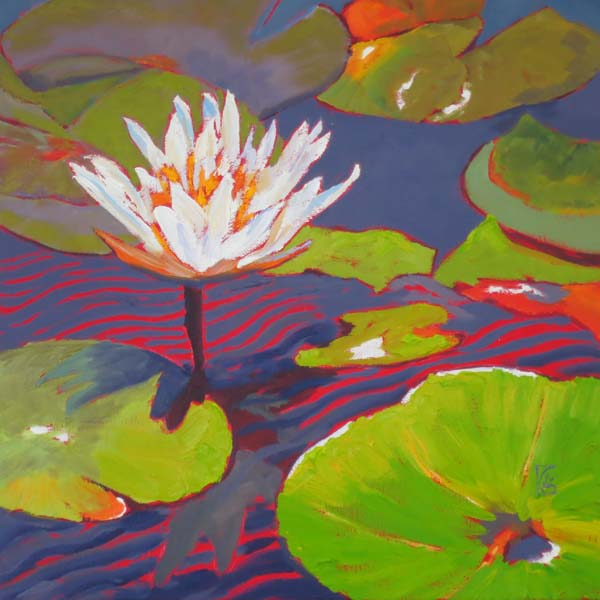 "Water Lily Series V 16x16"" Oil on gallery wrap canvas ©2015 Lucinda Howe $640"