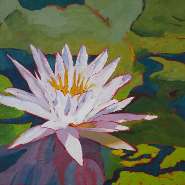 "Water Lily Series VI 16x16"" Oil on gallery wrap canvas ©2015 Lucinda Howe $640"