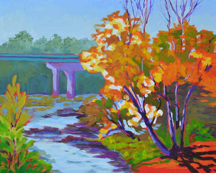 "Rethinking the River 16x20"" Acrylic on masonite ©2014 Lucinda Howe $800"