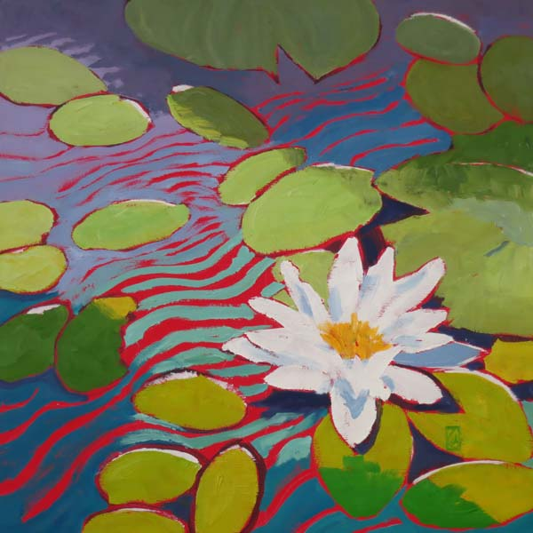"Water Lily Series VII 16x16"" Oil on gallery wrap canvas ©2015 Lucinda Howe $640"
