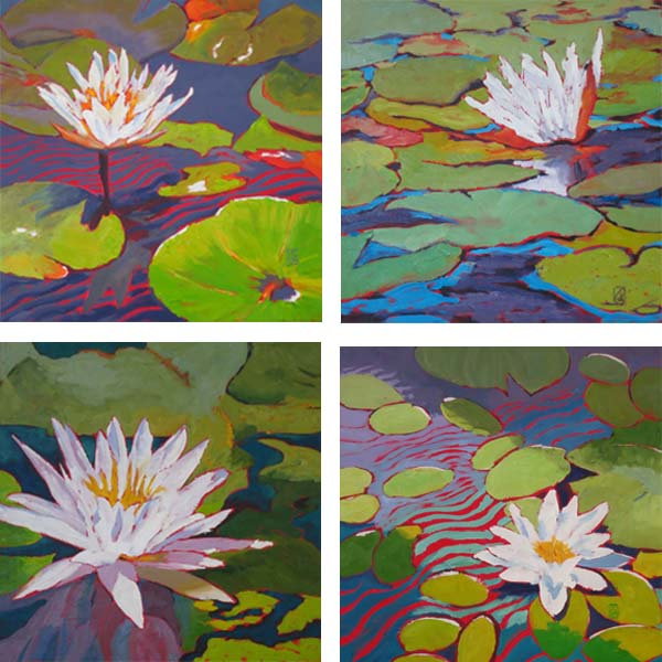 "All the Single Lilies Water Lily Series IV, V, VI, & VII Oil on four 16x16"" gallery wrap canvases ©2015 Lucinda Howe $2,295 for the set"