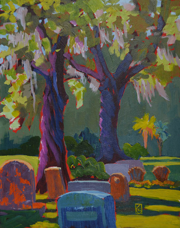 "Trinity Episcopal Cemetery 14x11"" Acrylic on masonite ©2015 Lucinda Howe $425"