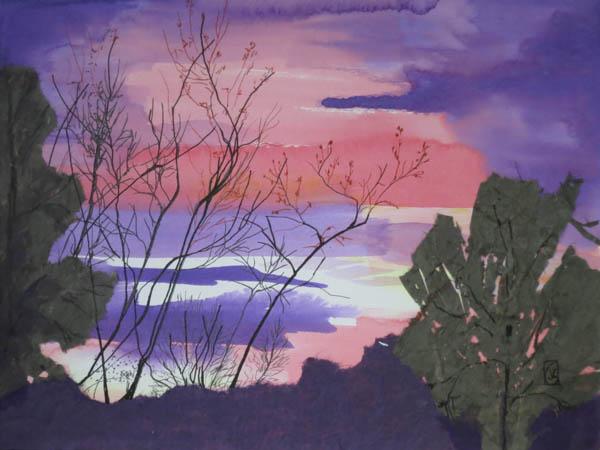 "Solstice 9x12"" Acrylics, torn paper & ink on watercolor paper ©2015 Lucinda Howe"