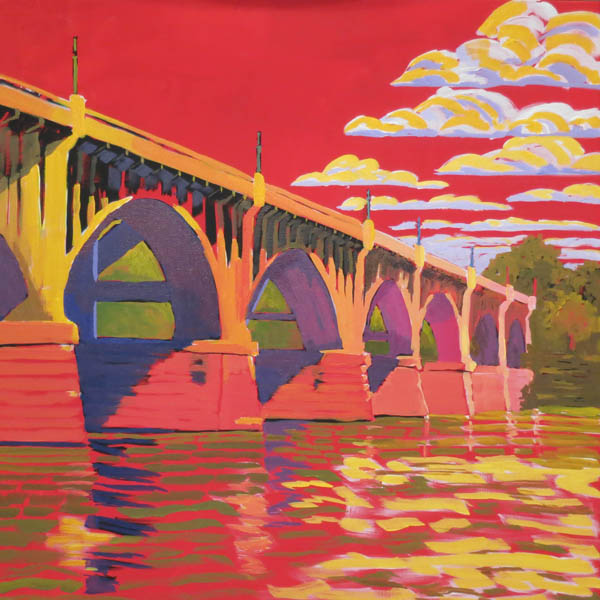 "The Bridge Surreal 24x24""  Acrylic on gallery wrap canvas ©2016 Lucinda Howe $1,100"