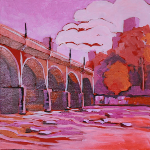 "Gervais Street Bridge in Red 12x12""  Acrylic on gallery wrap canvas ©2015 Lucinda Howe NFS"