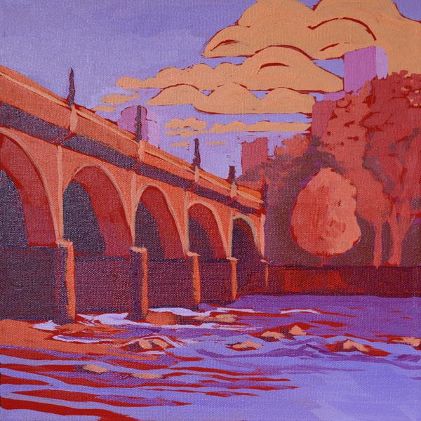 "Sunset Bridge 12x12"" Acrylic on gallery wrap canvas ©2016 Lucinda Howe NFS"