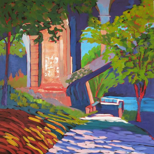 "Path Under the Bridge 24x24"" Acrylic on gallery wrap canvas ©2016 Lucinda Howe $1,100"