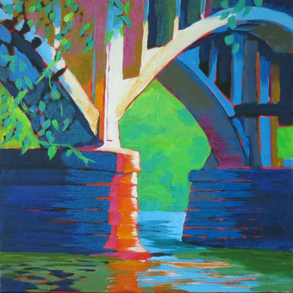 "Open Spandrel Bridge 12x12"" Acrylic on gallery wrap canvas ©2016 Lucinda Howe $395"
