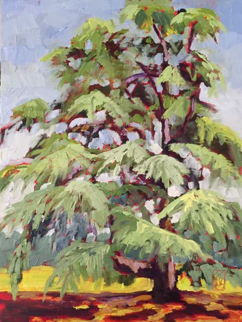 Deodar Cedar at Sandhill 12x9 inches Oil on panel ©2016 Lucinda Howe $295