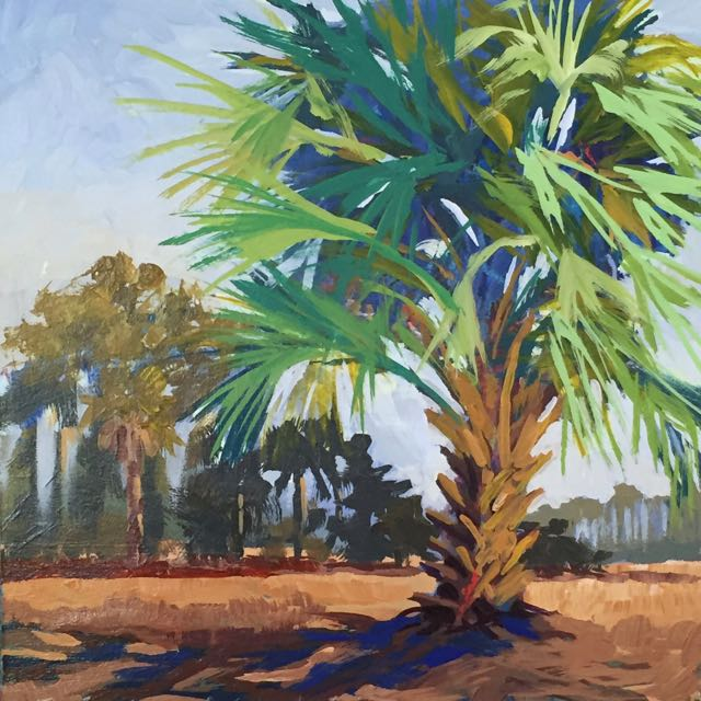 Blue Palmetto 11x11 inches Acrylic on mat board ©2016 Lucinda Howe $330