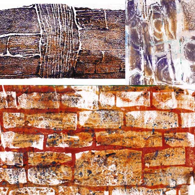 Sections of Walls Gelli plate prints with hand-cut stencils and stamps