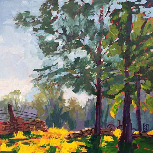 Morning at McNair Farm 12x12 inches Acrylic on gallery wrap canvas ©2016 Lucinda Howe $395