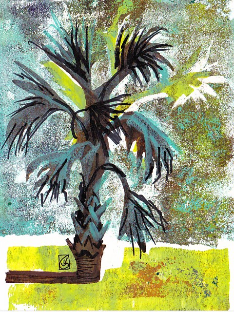 Holiday Palmetto 7x5 inches Gelli plate monotype with Sharpie marker ©2016 Lucinda Howe