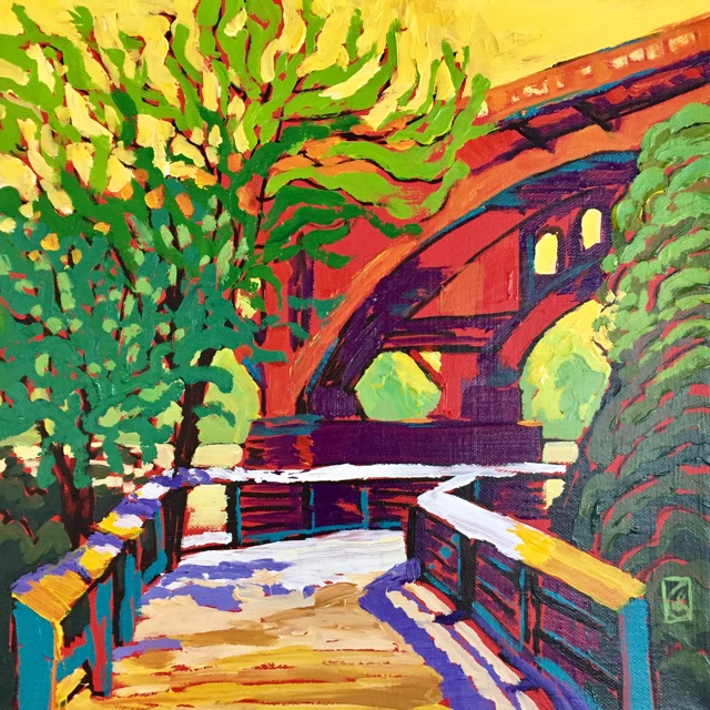 Gervais Street Bridge North 12x12 inches Acrylic on gallery wrap canvas ©2017 Lucinda Howe $395