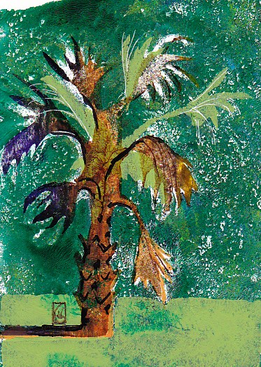 Emerald Palmetto 7x5 inches Gelli print with Sharpie ©2017 Lucinda Howe $125