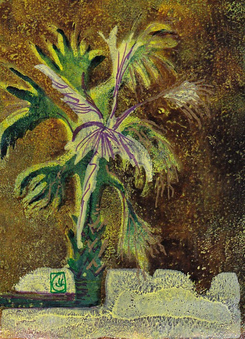 Green and Brown Palmetto 7x5 inches Gelli print and Sharpie ©2015 Lucinda Howe