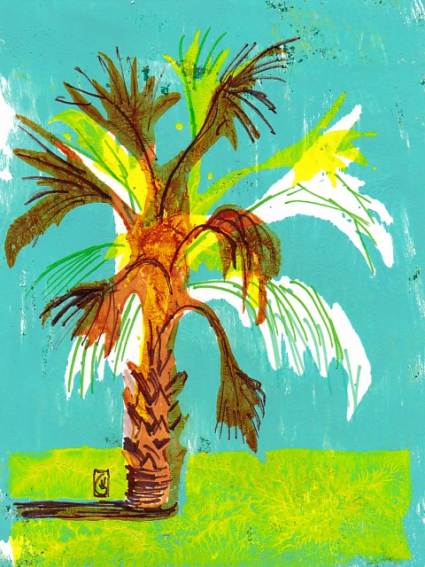 January Palmetto 7x5 inches Gelli print and Sharpie ©2017 Lucinda Howe