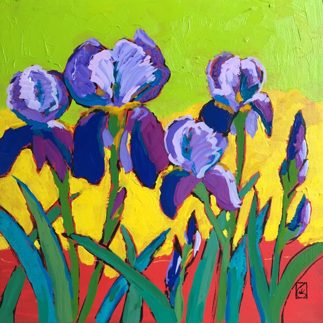 Purple Irises #2 12x12 inches Acrylic on gallery wrap canvas ©2017 Lucinda Howe $395