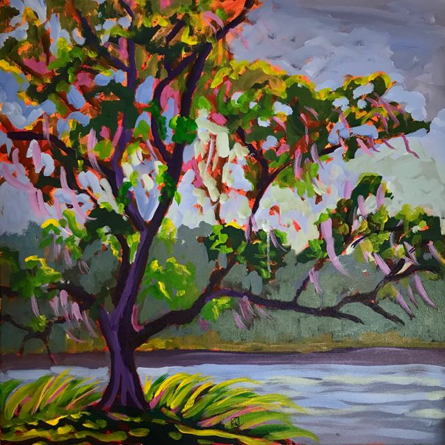 Mansfield Plantation #2 24x24 inches Acrylic on gallery wrap canvas ©2017 Lucinda Howe $1,100