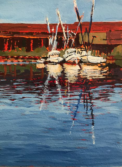 Georgetown Boats 8x6 inches Acrylic on panel ©2017 Lucinda Howe $95