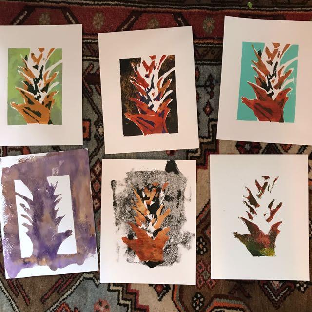 Work in progress Gelli prints drying on studio floor ©2018 Lucinda Howe