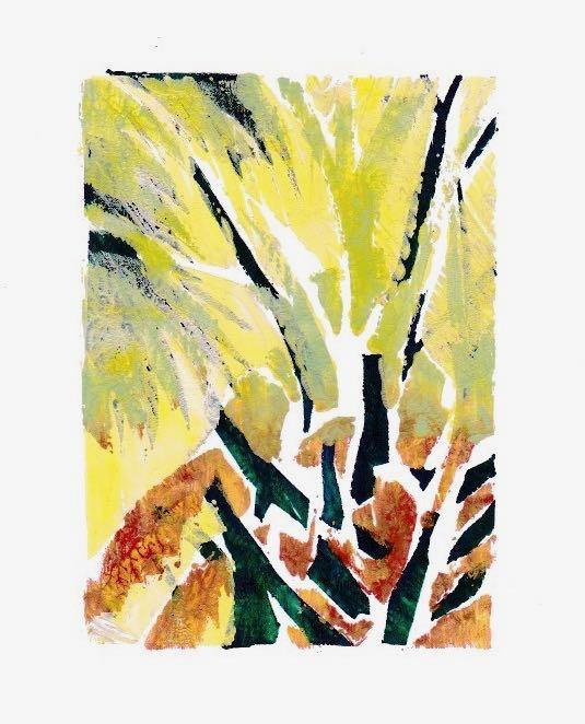 Palmetto Crown Gelli print, experimental Acrylic on paper ©2018 Lucinda Howe